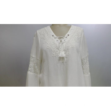 V-neck Women's Blouse Long Sleeve With Lace Pannel