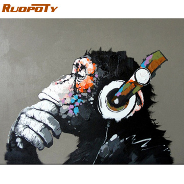 RUOPOTY Frame Orangutan Animals Diy Oil Painting By Numbers Modern Wall Art Canvas Acrylic Handpainted Calligraphy Painting