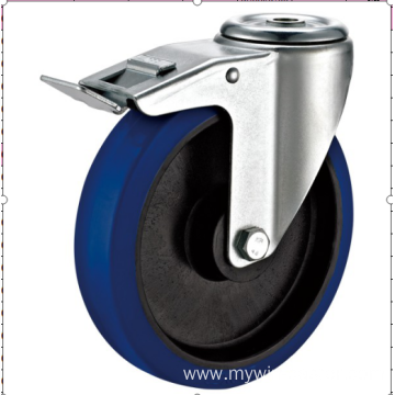 80mm  European industrial rubber  swivel caster withbrake
