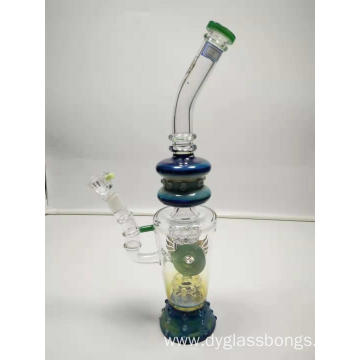 Heavy glass water pipe with double porous filters