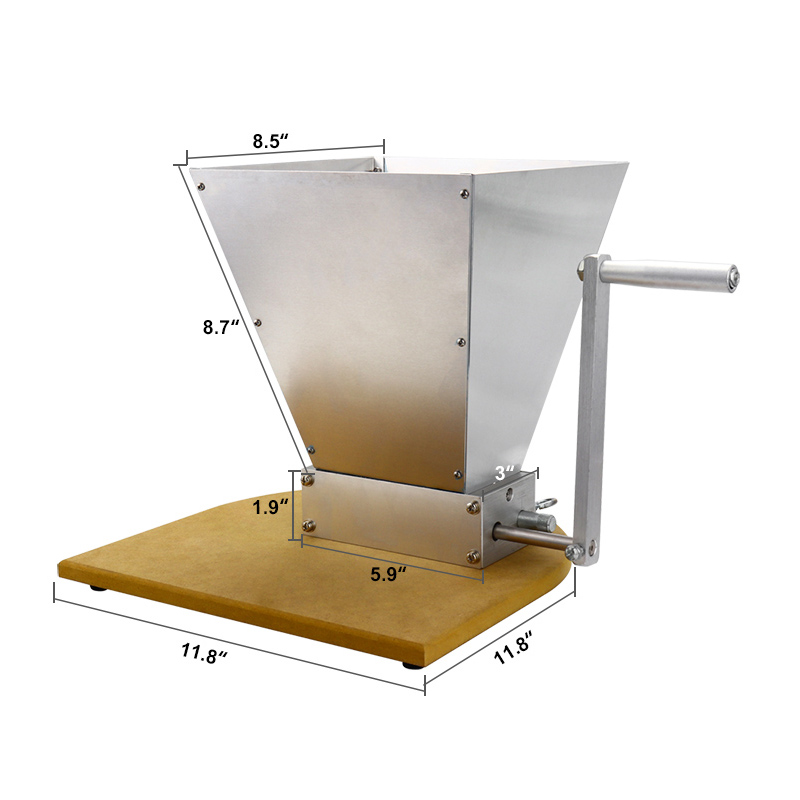 Stainless Grains Malt Mill Grinder With Wooden Base Barley Crusher For Homebrew 2-Roller Manual Corn Food Powder Machine