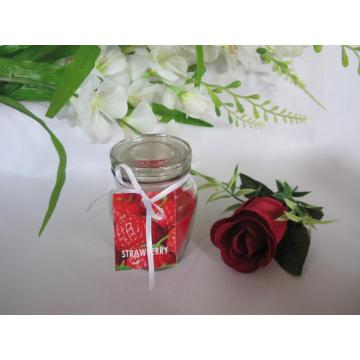 Strawberry Scented Glass Candle with Glass Lid