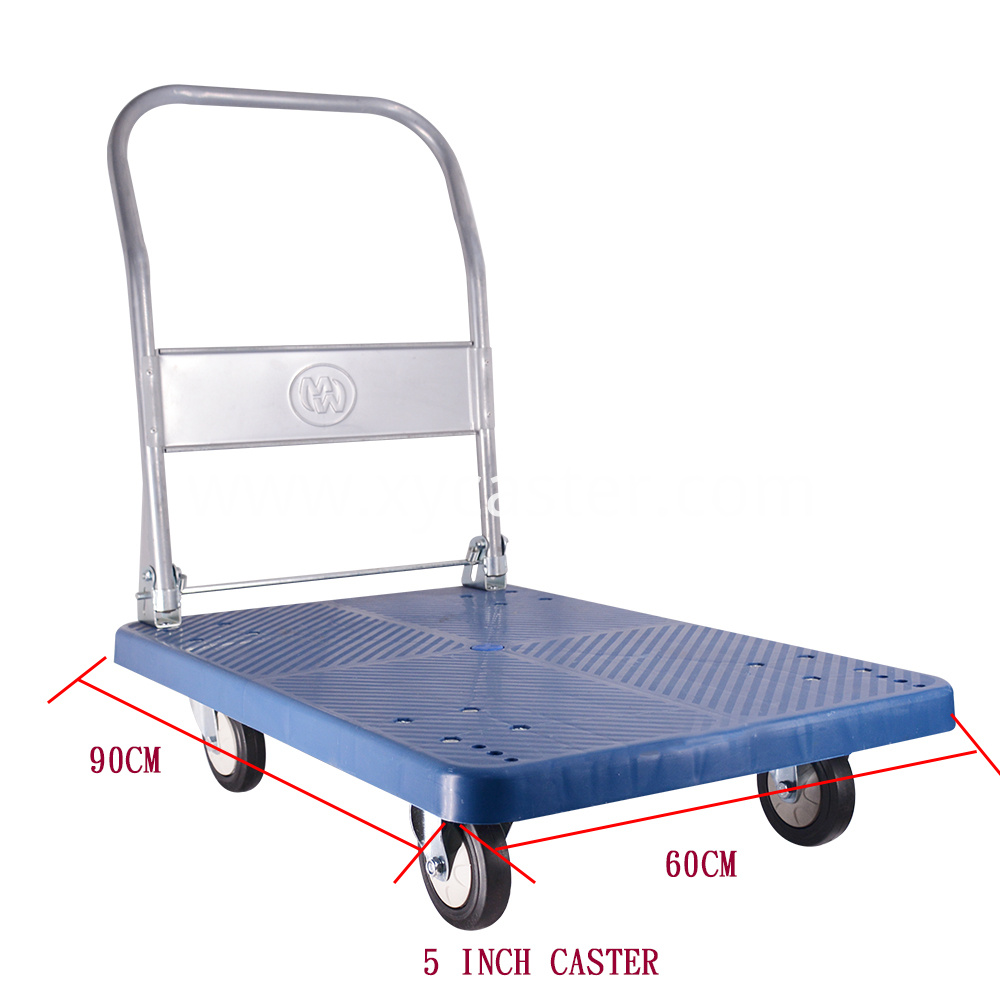 60 90cm Blue Folding Platform Trolley