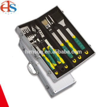 Plastic Handle BBQ tool Set in Aluminum Box