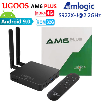 UGOOS AM6 Plus Amlogic Smart Android 9.0 TV Box DDR4 4GB RAM 32GB ROM 2.4G 5G WiFi 1000M LAN Bluetooth 4K HD Media Player