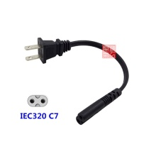 NEMA 1-15P 2pin male plug to IEC 320 C7 IEC320 short AC Power cable cord 20CM For AC Adapter Laptop Notebook
