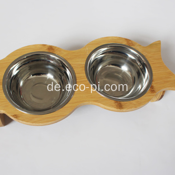 Bamboo Elevated Dog Pet Food und Wasserschalen