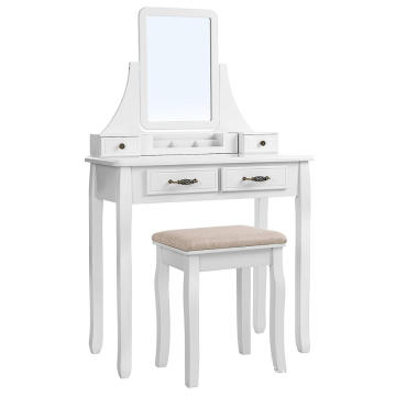Customized white color wood makeup dresser with mirror