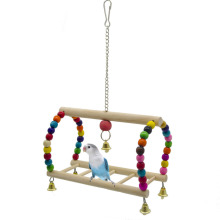 Parrots Toys Bird Swing Exercise Climbing Hanging Colorful Beads Ladder Bridge Wooden Pet Parrot Macaw Hammock Birds Supplies