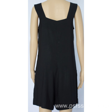 Black Color Jumpsuits with Button Design