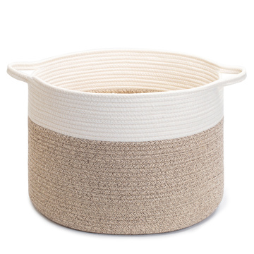 Wholesale cotton rope storage basket home laundrey hamper