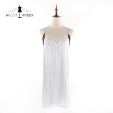 Fashion Women Sleeveless V-neck Soft Suspender Lace Dress