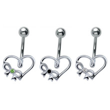 Sterling Silver&Steel Heart Belly Bar Ring