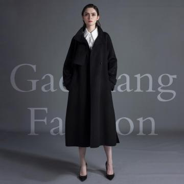 Cashmere coat with black lapel design