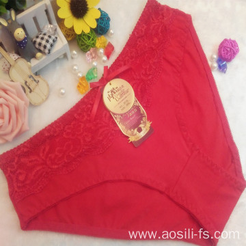 OEM wholesale China 100 cotton panty red sexy lace elastic fancy underwear 5716