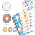 12PCS Notebook Mushroom Hole Button 360 Degree Flip Love Button Plan Buckle Disc 35MM Colorful Heart Plastic Disc DIY Binder