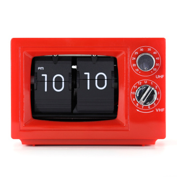 Small Television Flip Clock Red with Light