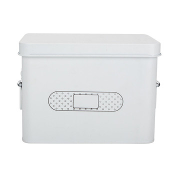 Metal White Medicine First Aid Kit Storage Canister