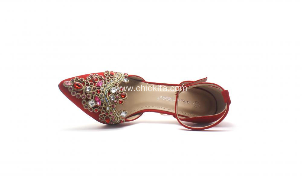 Ladies high Heel shoes with Flower Decoration