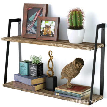 2-Tier Floating Shelves Wall Mounted Rustic Wood Shelves Book Shelves Perfect Room Decor