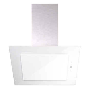 White Cooker Hood in Tempered Glass