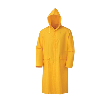 Heavy duty pvc polyester adult yellow plastic raincoat