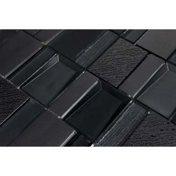 Black retro indoor outdoor mosaic tile art