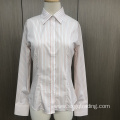Yarn dyed stripe long sleeve female shirt