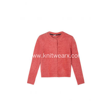 Girl's Knitted Feather Yarn Buttoned Cardigan