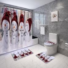 Cute Little Snowman Bathroom Curtains Shower Curtain Set Bath Mats Rugs Holiday Decoration Merry Christmas Toilet Lid Cover
