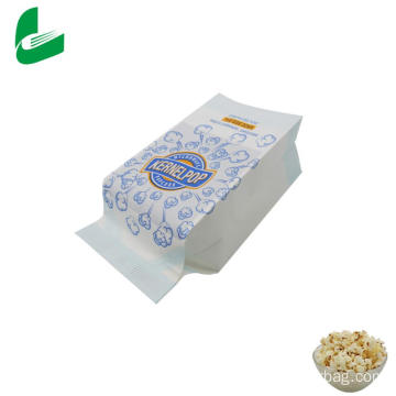 White kraft greaseproof microwave popcorn paper bag