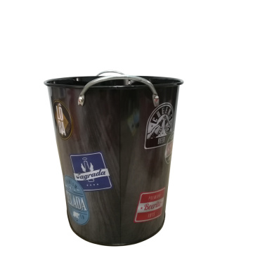 Large colorful tin pail with custom logo