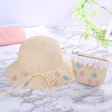 Clothing sets plain kid straw hat straw bag