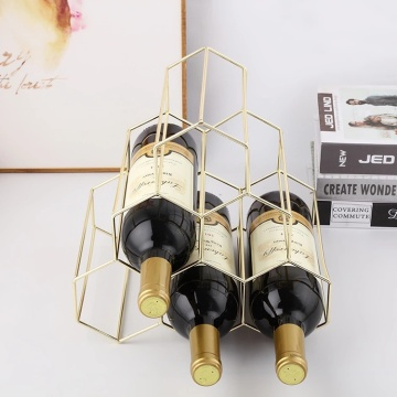 Metal Geometric Design Red White Wine rack