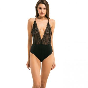 ladies deep V floral eyelash lace bodysuit