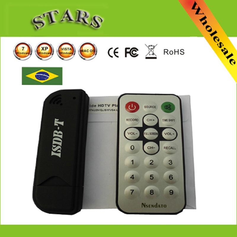 Mini Digital ISDB-T USB2.0 TV HDTV Tuner Stick Receiver Recorder With Remote+Antenna for Brazil,Wholesale Free Shipping