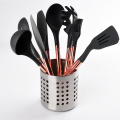 silicone utensil set with stainless steel with holder