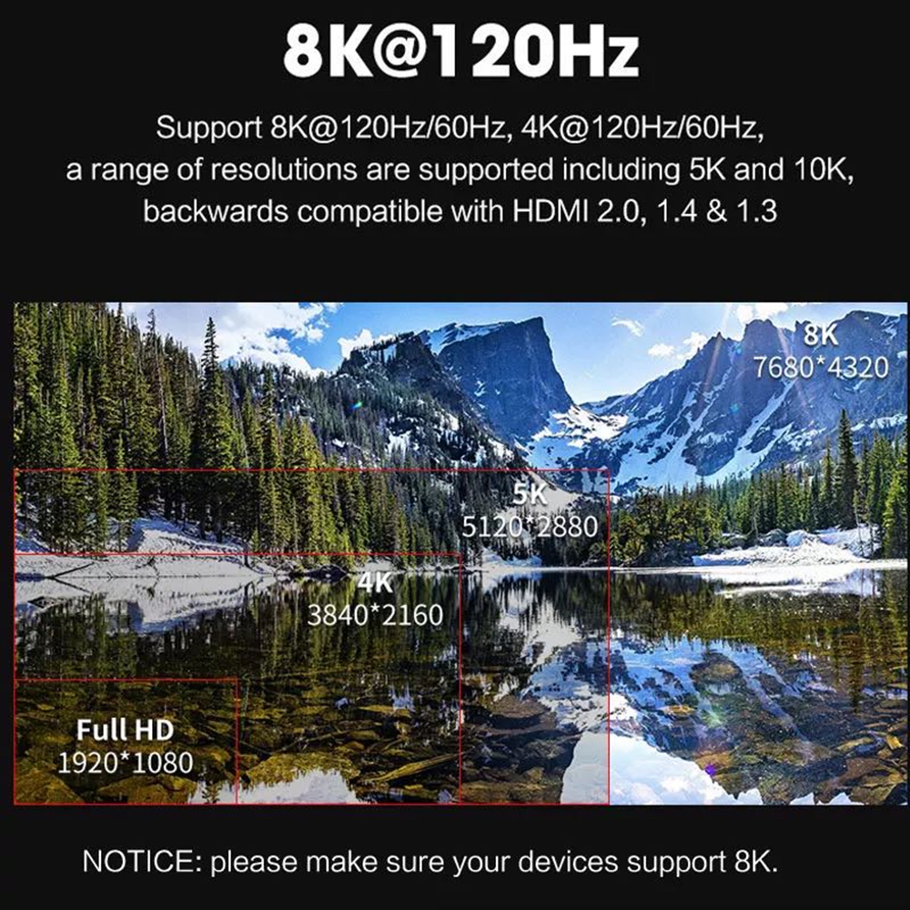 8K HDMI-compatible Cable 4K 60HZ UHD HDR 48Gbps V2.1 for Xiaomi Samsung Screen TV PS4 PS5 Splitter Switch Audio Video