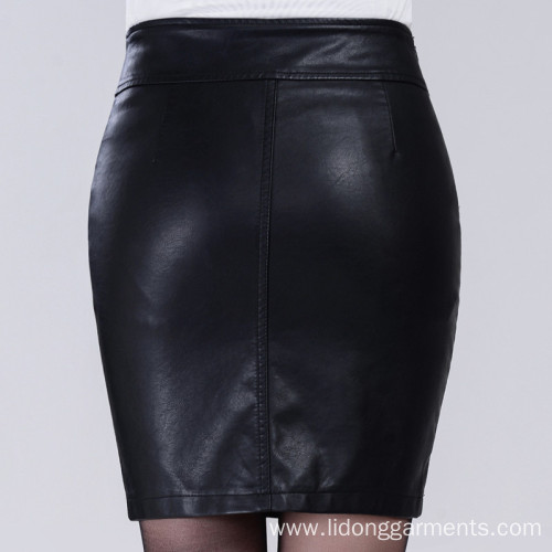 Women Sexy Office PU Leather Mini Skirt Dress