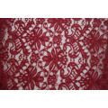 100% Polyester Red Velvet Cord Lace Fabric