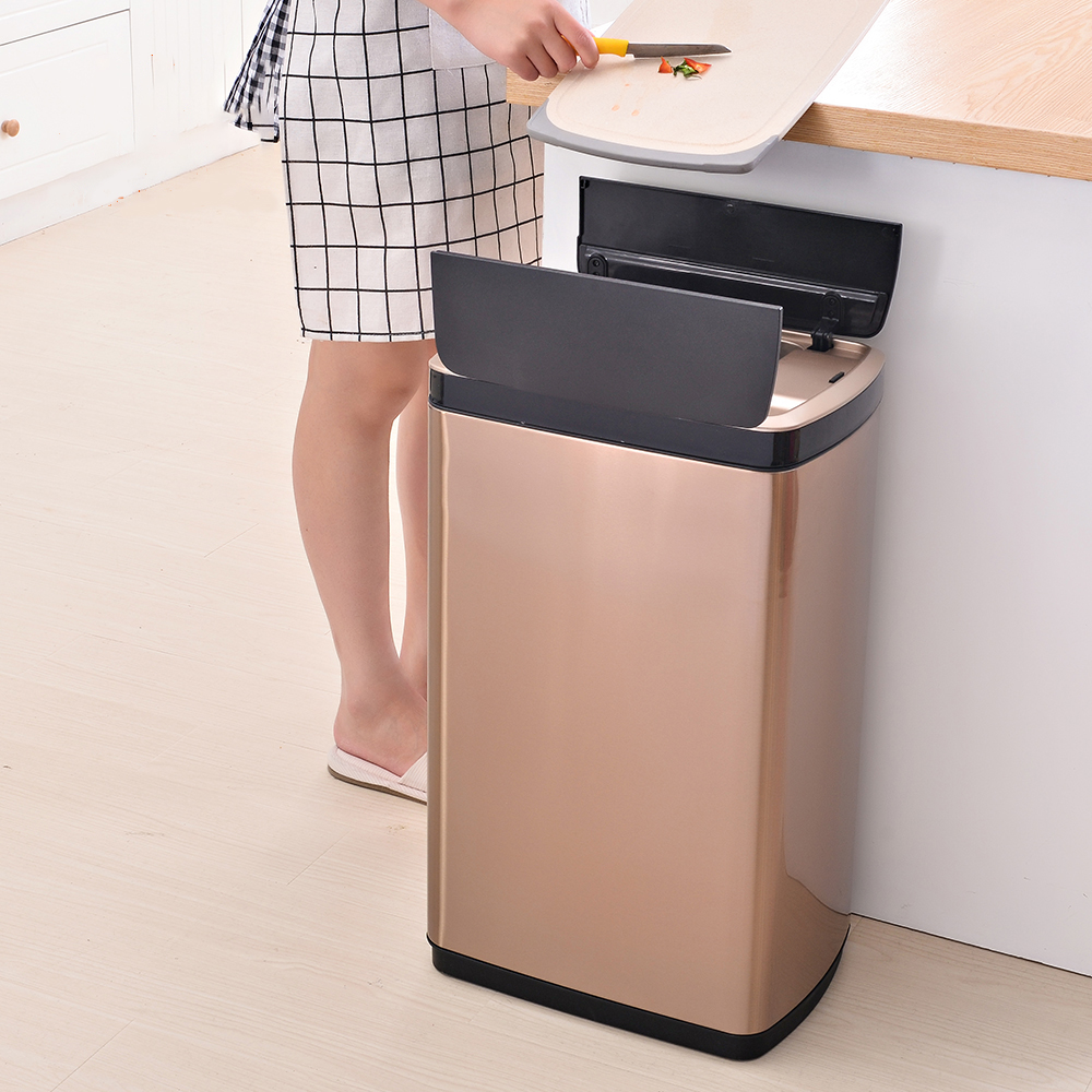 430 Stainless steel 30L sensor garbage can with inner bucket for kitchen