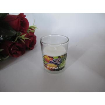 Long Burning Tropical Fruit Scented Glass Candle