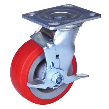 5'' industrial brake caster pu wheels