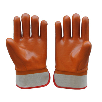 PVC Coated Gloves with Brown Colour