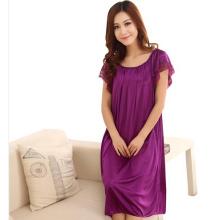 Summer short-sleeve plus size plus size women's sleepwear viscose lace plus size mm nightgown lounge