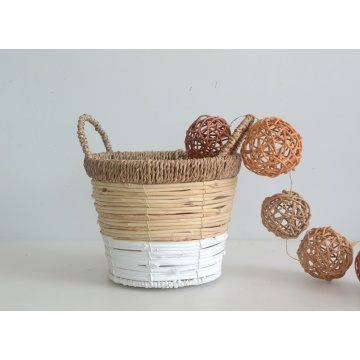 Round two tone rattan flower basket with handle