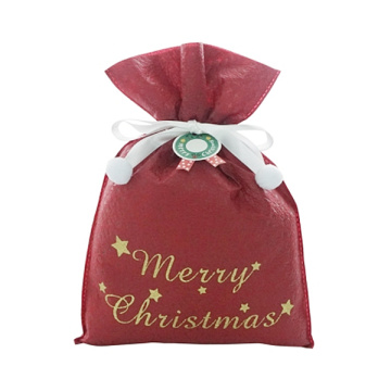 Red Star Embossed Christmas Non-woven Drawstring Gift Bags