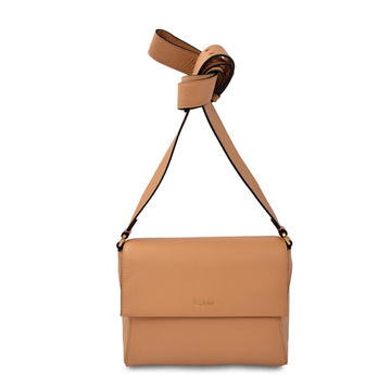 Foldover Crossbody Purse Textured Leather Bag Tan Color