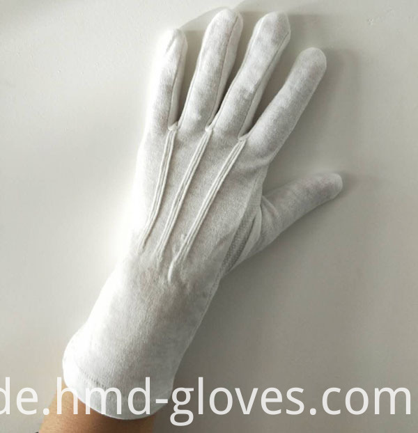 Long Wristed White Cotton Gloves Military Back