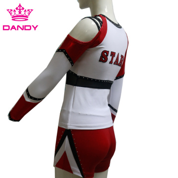 Custom All Stars Metallic Long Sleeve Cheerleading Uniforms